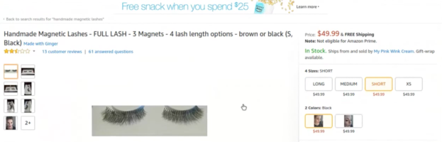 Magnetic Lashes on Amazon – FULL lash – 3 Magnets
